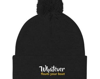 Whatever floats your boat Pom Pom Knit Cap