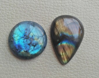 Multi Fire Quality Natural Labradorite 2 Pieces Beautiful Shape Gemstones 123 Carat Weight, Oval and Pear Size 41x28x9, 31x31x10 MM Approx