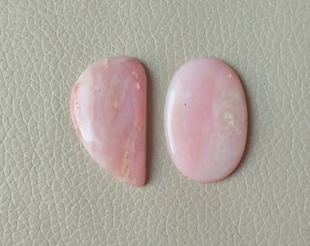 Natural Pink Opal Cabochon, 2 Piece Pink Opal Gemstone, Sooth Natural Pink Opal Loose Gemstone, Pink Opal Stone, Handmade Jewelry Stone.