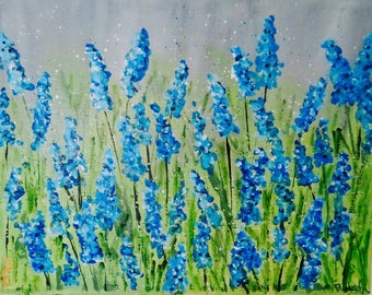 Field of bluebonnets, acrylic painting, Blue, gray, flowers,
