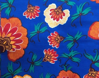 Wax / Ankara fabric -Fat quarter - orange flowers