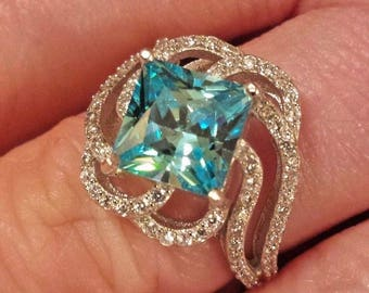 Aquamarine & White Topaz Gemstone Sterling Silver Plated Ring, 4.25 ct.  Size 8