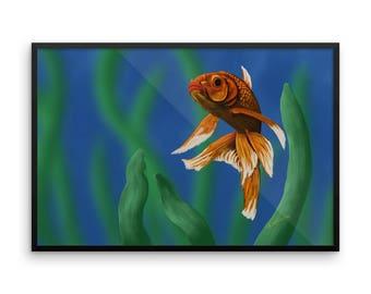 Goldfish Swimming Framed Poster