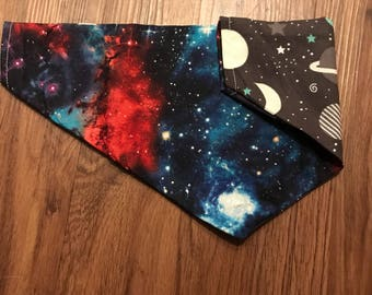 The Rex- OuterSpace Slip On Dog Bandana- space dog bandana- over the collar dog bandana- reversible dog bandana- earch dog bandana