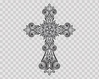 Decals Decal Extremely Detailed Cross Design home decoration 08729