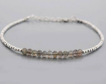 Natural Labradorite Rondelle Bracelet Beads Bar Bracelet with Sterling Silver Findings- Gemstone Jewelry - Birthstone bracelet Gifts for her