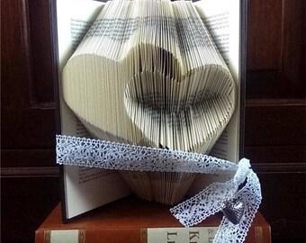 CUSTOM Folded Book Art, Hearts
