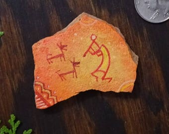 Fire Kokopelli Pictograph. Hand Painted Sandstone Magnet. Southwestern Art.