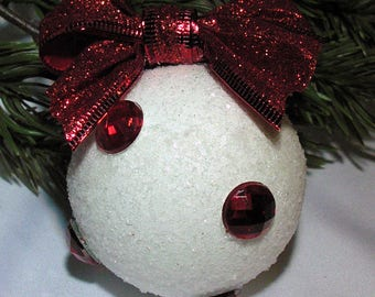 Handmade snowball ornament