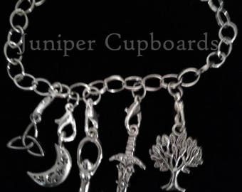 Witch 5 Charm Bracelet Jewelry Triquetra - Moon - Spiral Goddess- Athame- Tree of Life