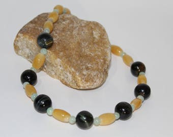 Beautiful Handmade Tigers Eye and Burmas Jade Necklace for Women