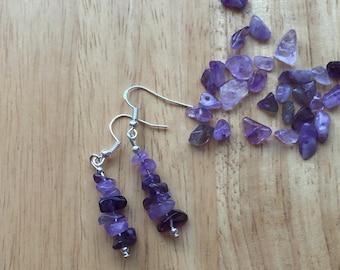 Natural Amethyst chip earrings