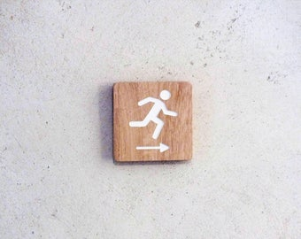 Wooden emergency exit sign