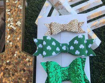 St Patricks Day Bow Set of 3 bows