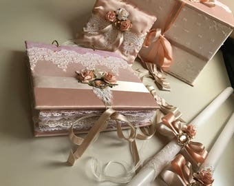 stylish wedding set in pink and peach powder colors