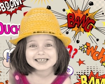 Pop Portrait - Custom Family Portrait and Custom Child portrait - Pop Art Portrait - Boom background - Choose your background