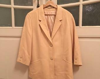 CLAUSE FISCHER Vintage Wool Coat Jacket, spring winter jacket, yellow coat,winter spring coat