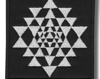 Sri Yantra - embroidered patch, 8x8 cm