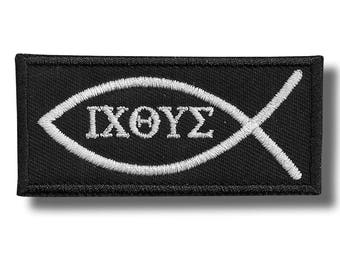 ICHTHUS - embroidered patch 8x4 cm