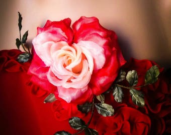 Bridal headpiece amazing gift Red heart rose beloved woman jewelry Floral brooch hairpin evening sexy dress red fairytale gift for wife