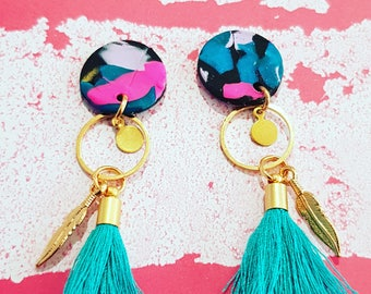 Polymer clay and gold dangles