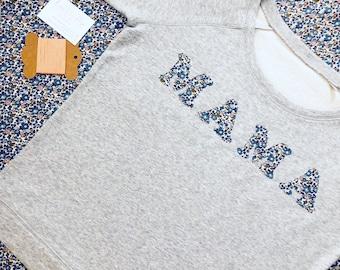 Liberty Mama Sweatshirt, Ladies Personalised Initial or Name Sweatshirt, Liberty of London, Women's Personalised Sweatshirt