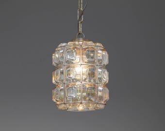 Vintage Glass pendant lamp 50s 60s Glashütte Limburg 1/2 mid century glass pendant lamp 50s 60s
