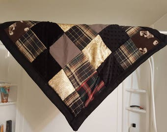 Plaid patchwork Blanket with Rattle cubes