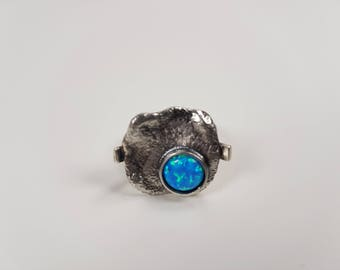 New collection Hand made Silver Ring with Opal. 20% Off. Free shipping
