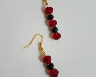 Burgundy and Black Crystal earrings with gold accent