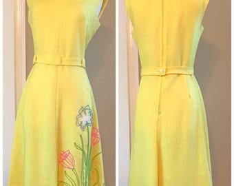 Vintage 1960s PAT PREMO Yellow Dress - Size 10