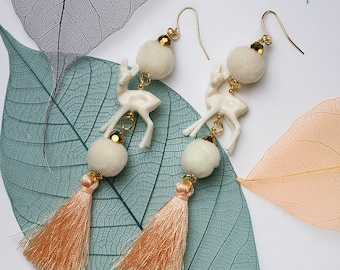 FUN Reindeer Pom-Pom Gold Tassel Earrings For Holiday Party Special Occasion