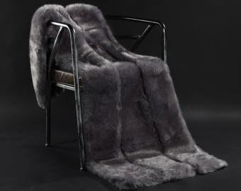 Dark Gray Faux Fur Weight Blanket - Arctic Fox, weight Blanket, Throw Blanket, Faux Fur Throw