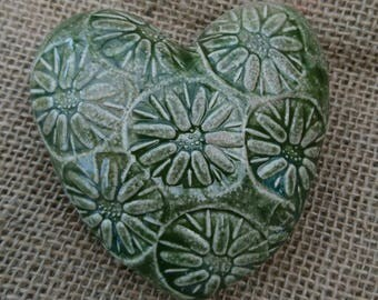 Handmade ceramic rustic and textured keepsake/ornament heart. Gift/ Small present.