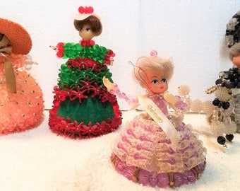 4 Vintage Beaded dolls  1960's