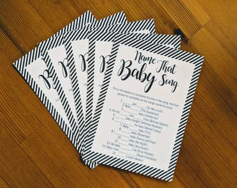 BABY SHOWER! Name the Baby Song Game! Pack of 6 printed games! Neutral Monochrome handmade design. Printed on 300gsm White Card - ready made