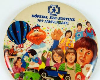 1982 Vintage pinback button from Sainte Justine, MTL