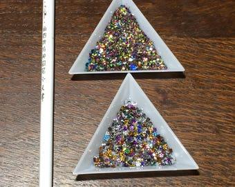 Rhinestone gem wax picker pencil & two triangle trays