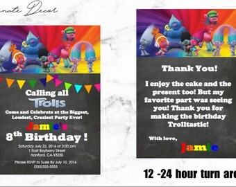 Trolls Birthday Invitation and Thank You Card