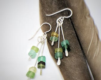 Ancient Roman Glass // glass drop earrings // handmade roman glass dangle earrings // sterling silver earrings
