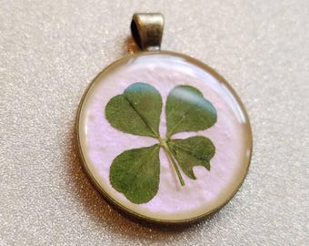 Real Four Leaf Clover Pendant #38