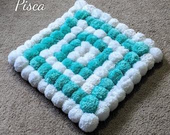 Pom pom rug, nursery decoration, bathroom mat, bath rug, home decor, housewarming gift, handmade rug, soft yarn rug, livingroom carpet