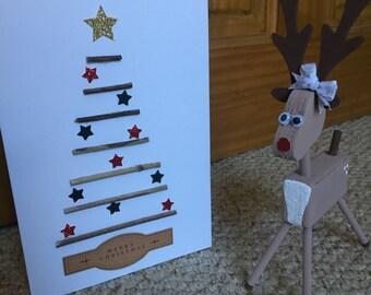 Handmade Twig Christmas Tree Card