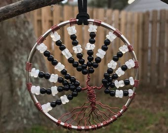 Onyx & Moonstone Gemstone Tree of Life Sun Catcher
