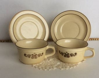 Vintage Pfaltzgraff Village Coffee Cups and Saucers set of 2
