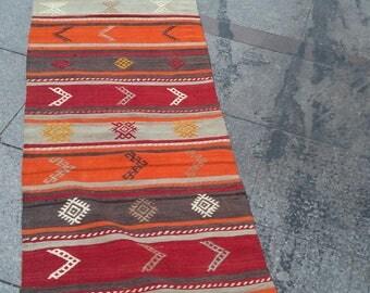 """Handmade kilim rug296x67cm 116""""x26"""",Turkish kilim rug,Anatolian kilim rug,vintage kilim rug,tribal kilim rug, Handmade kilim rug"""