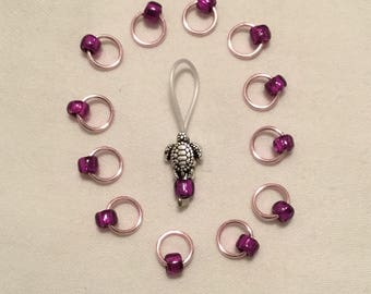 Pink with purple -  Snag Free Stitch Markers w/ Turtle