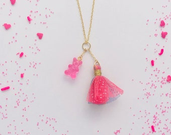 Gummy Bear Tulle Tassel Charm Necklace in Bubble Gum Pink