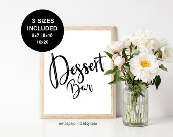 Dessert Bar Sign - Printable PDF, Printables, Signs, Treat, Treats, Wedding, Party, Event, Birthday, Shower