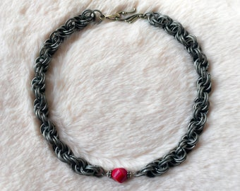 Double Spiral Brushed Steel Chain with Red Cut Glass Centre
